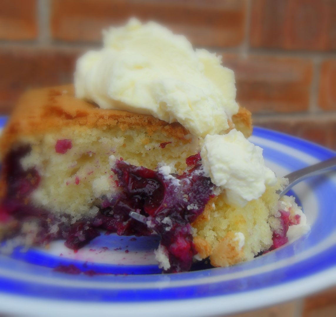 Melt-In-Your-Mouth Blueberry Cake, with a Lemon Cream*