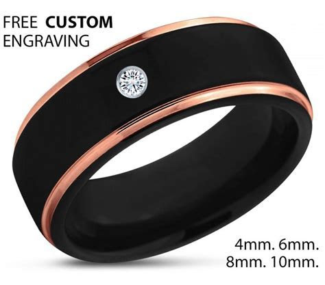 Black Tungsten Ring, 18k Rose Gold Black Band, Polished