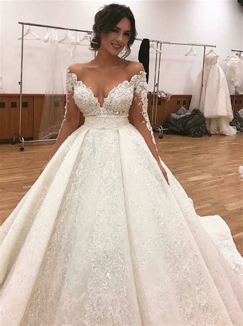 A Line Off the Shoulder Long Sleeves Lace Wedding Dress