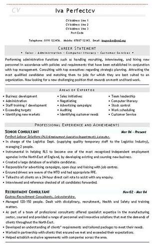 latest curriculum vitae format. Recruitment Consultant CV