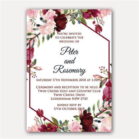 Floral Geometric Birthday Invitation   Red Rose Invitations
