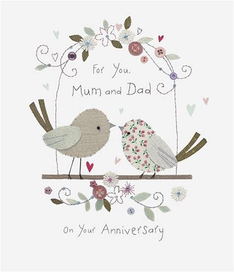 Mum & Dad Love Birds Wedding Anniversary Card