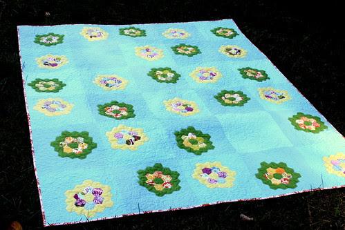 grandmother's flower garden quilt with central park