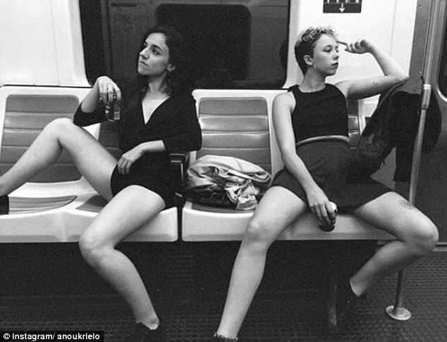 Other social media users have been poking fun at the manspreading trend on public transport