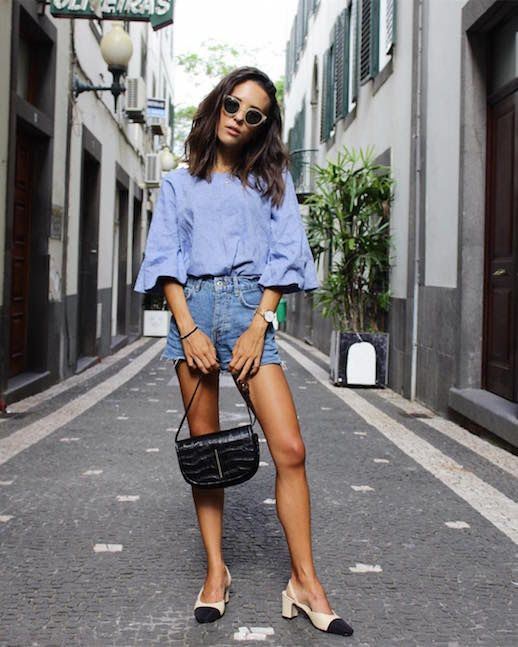 Le Fashion Blog Balloon Sleeves Denim Shorts Cap Toe Flats Black Mini Bag Via @Deborabrosa