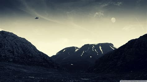 Mountains nature flying ufo wallpaper   AllWallpaper.in