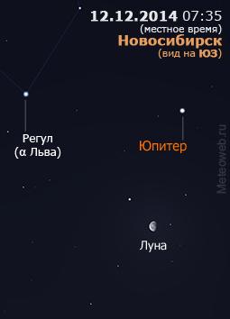 Убывающая Луна, Юпитер и Регул (αЛьва) на утреннем небе Новосибирска 12 декабря 2014 г.