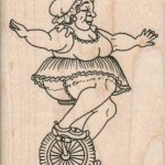 Unicycle Lady 2 3/4 x 3 1/2 #14619 Viva Las Vegastamps!