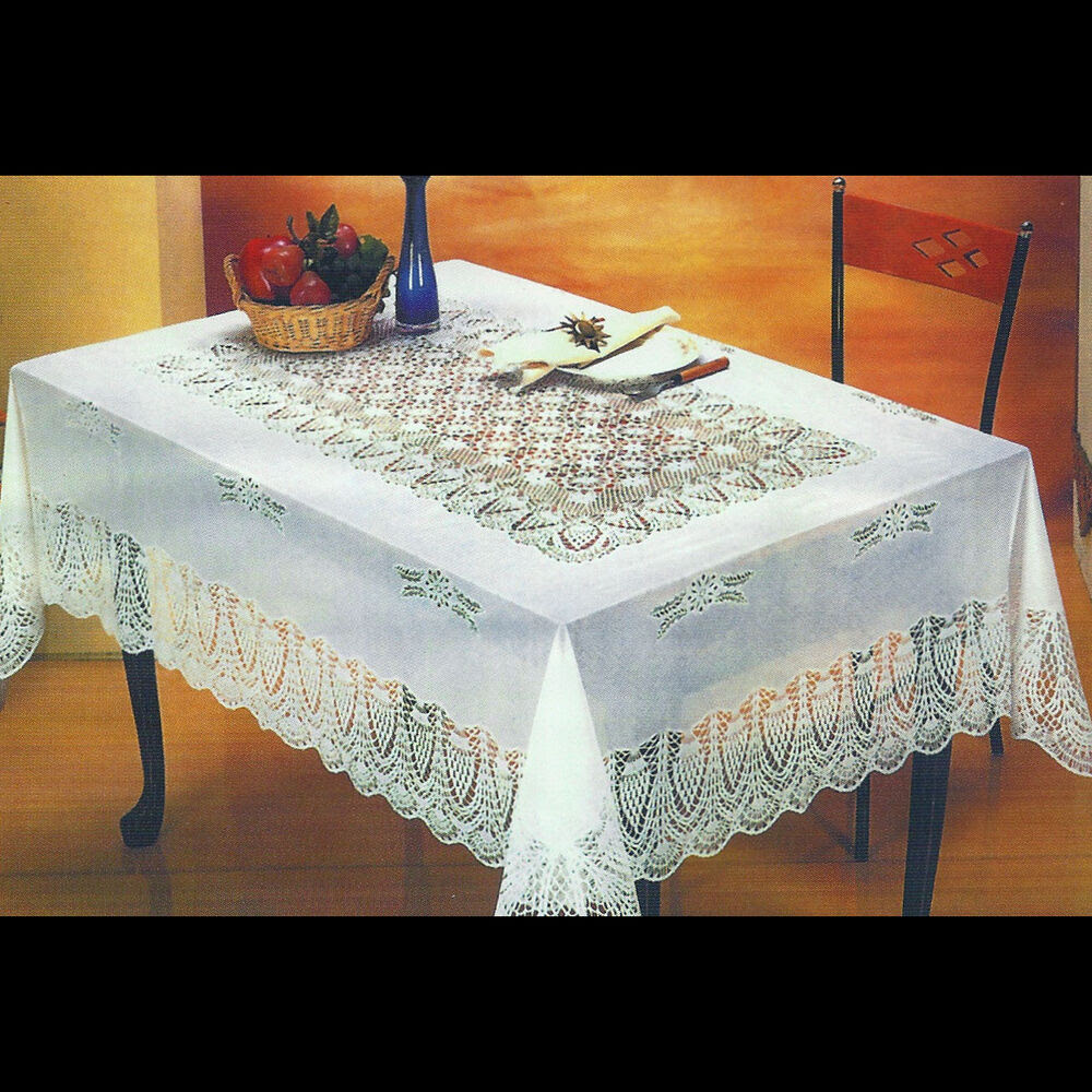 """NEW WHITE CROCHETED LACE VINYL TABLECLOTHS: 54""""X72""""/60""""X90 ..."""