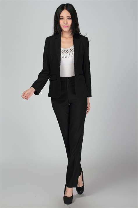 Plus Size S 3XL Women Wedding Black Pants Suits Work Wear