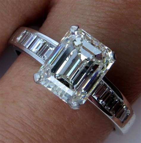 Estate GIA 3.92ct EMERALD CUT Diamond Platinum Engagement