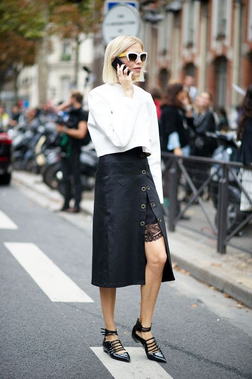 Le Fashion Blog Parisian Street Style Elena Perminova Black And White Look Pfw Cropped Blouse Midi Slit Skirt Layered Over A Lace Slip Patent Leather Strappy Pointed Toe FlatsVia The Cut