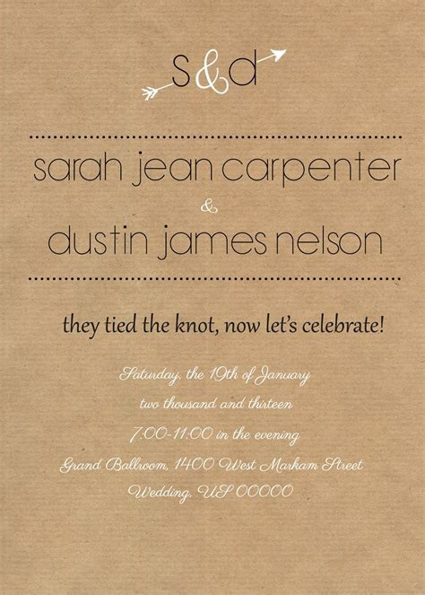 Rustic reception invite. I like the wording of this