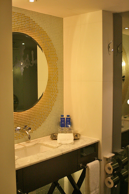 Bathroom is neat, clean and well-laid-out