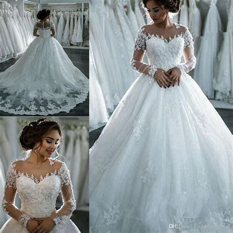 Elegant Jewel Neck Ball Gown Wedding Dresses Long Sleeve