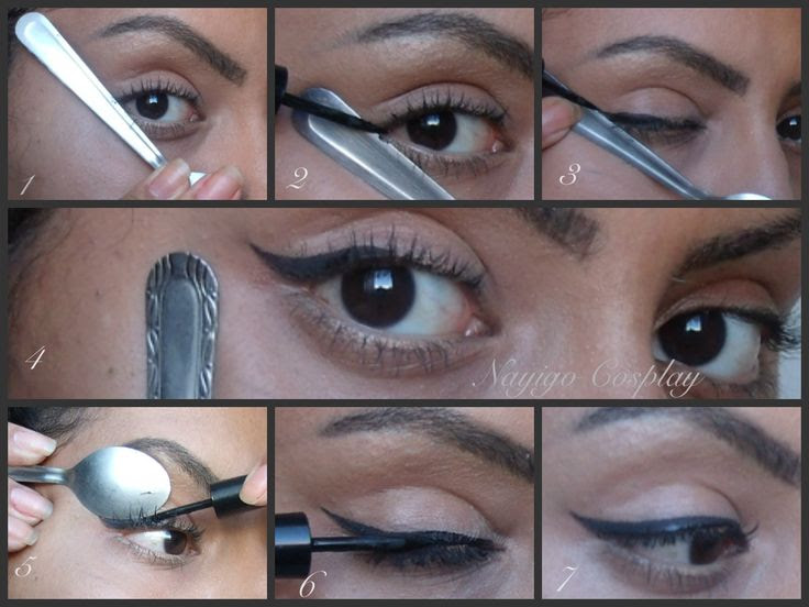 Eyeliner tutorial using a spoon by nayigu