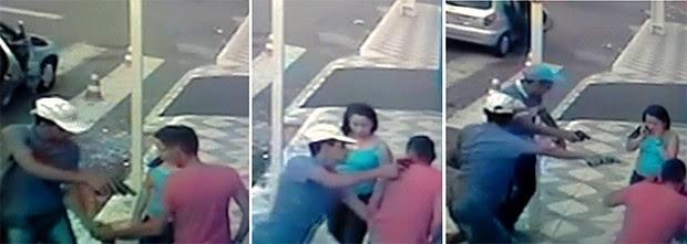 Imagens mostram que dois assaltantes desceram do carro e roubaram o policial (Foto: Divulgação/PM)