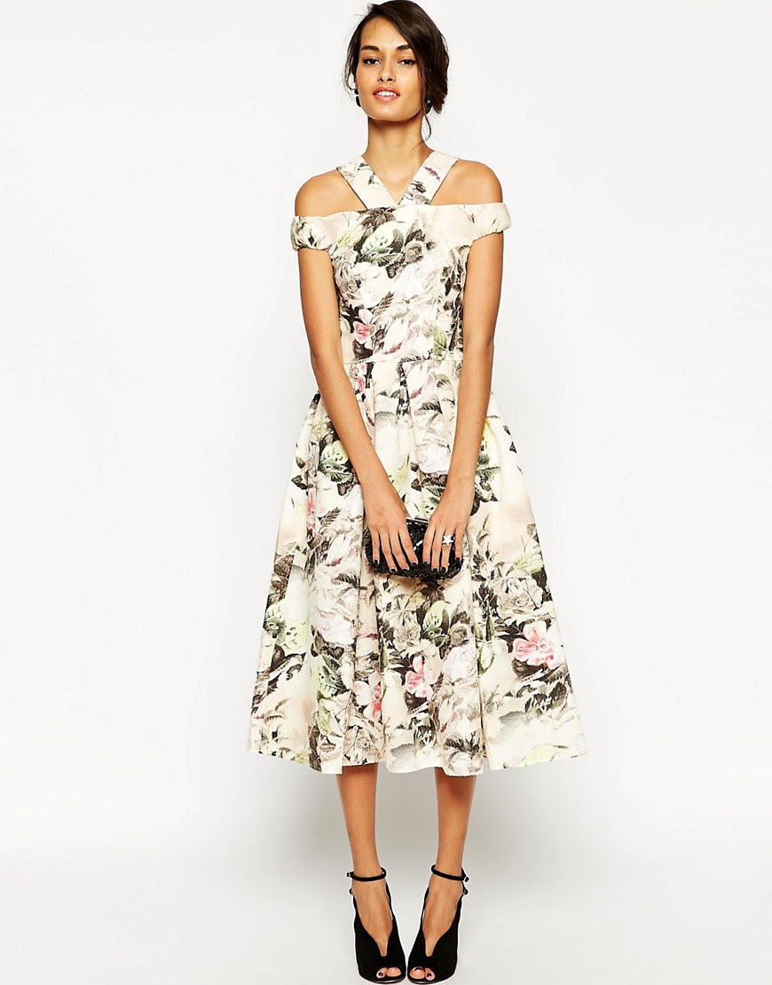 Image 1 of ASOS Tapestry Rose Multi Strap Debutante Dress