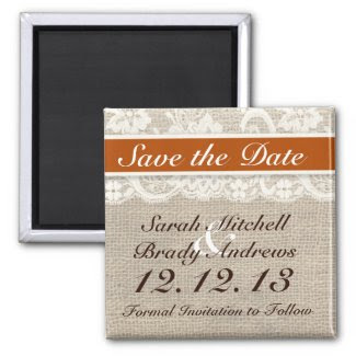 Rustic Burlap Lace Orange Save the Date Magnet