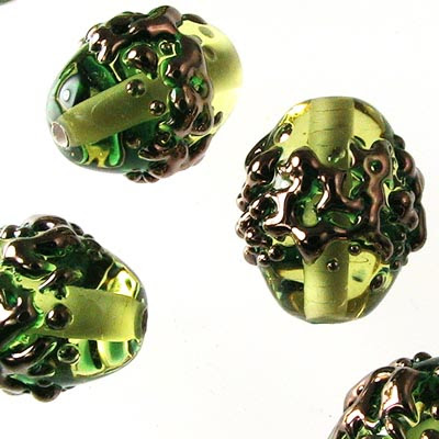 27801688-01 Artisan Lampwork - 10 x 14 mm Chubby Oval - Olive Green and Copper (1)