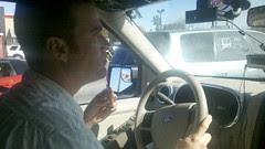 Weaver behind the wheel