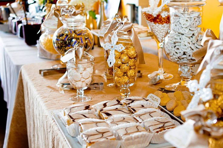 Gold Baptism Or Christening Dessert Candy Table Favor Ideas We