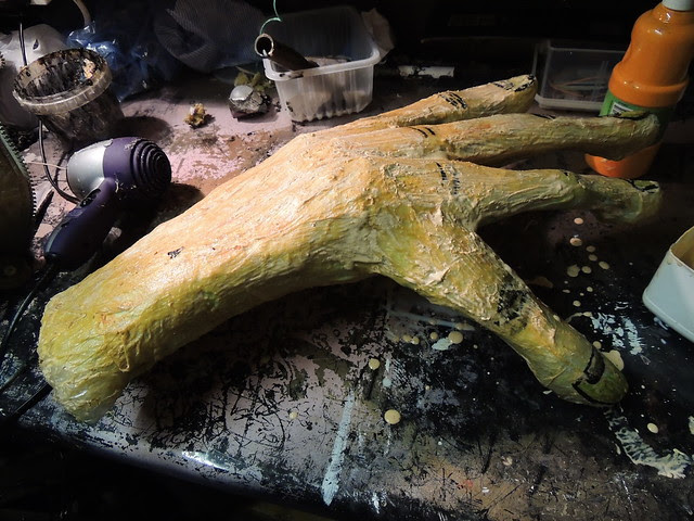 Making hands for a pantomime giant