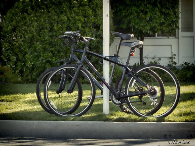 Two bikes on a corner