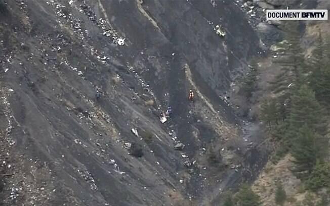 Imagens do local em que caiu o avião A320 com destino a Dusseldorf. (24/03/2015). Foto: AP