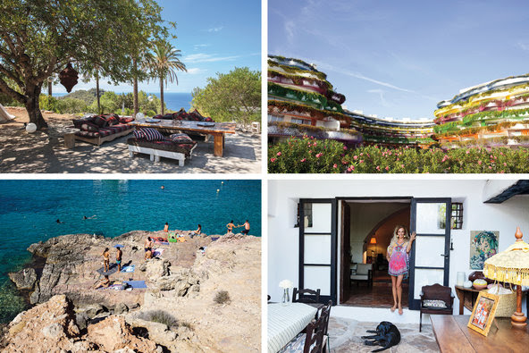 Clockwise from top left: longtime homeowner Jade Jagger's yard near San Juan on the northern part of the island; the new luxury residence, Las Boas de Ibiza, designed by Pritzker-winning architect Jean Nouvel, facing the Marina Ibiza; Duchess Sylvia Serra di Cassano at the <em>finca</em> she's owned for the last nine years; the Cala Salada beach cove in western Ibiza.
