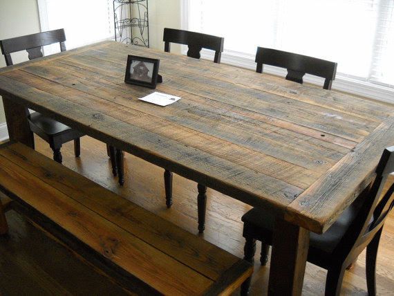 Rustic Barnwood Farmhouse Table ~ Rustic WoodWorx