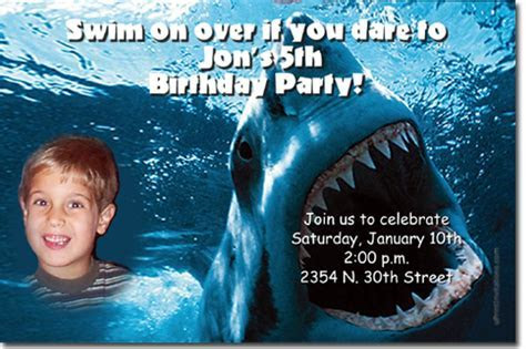 Shark Birthday Invitations, Candy Wrappers, Thank You
