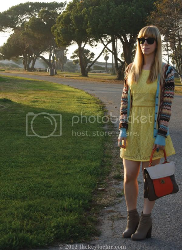 Missoni for Target cardigan, Forever 21 yellow lace skater dress, color block handbag, Forever 21 Rumble boots, Los Angeles fashion blog, southern California fashion blog