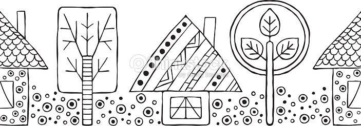 Mano De Vector Dibujado Patrones Sin Fisuras Casas Infantiles Blanco