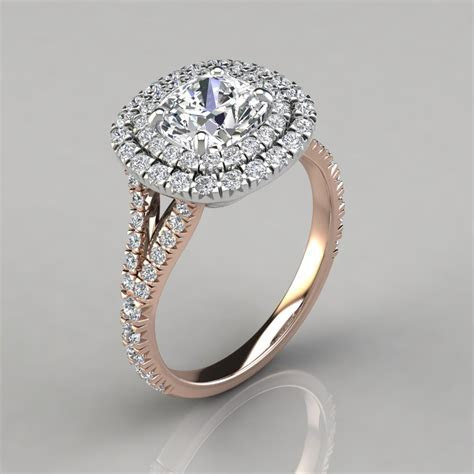 Double Halo Cushion Cut Engagement Ring   PureGemsJewels