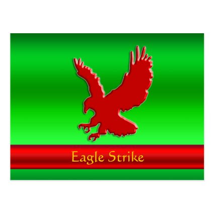 Embossed-look Red Eagle on green metallic-effect Post Card