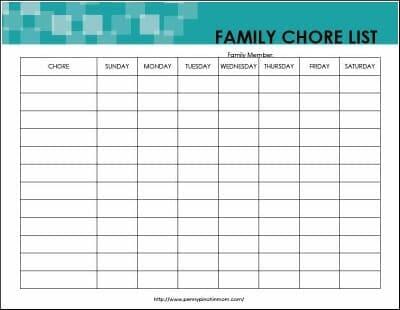 family chore list 1