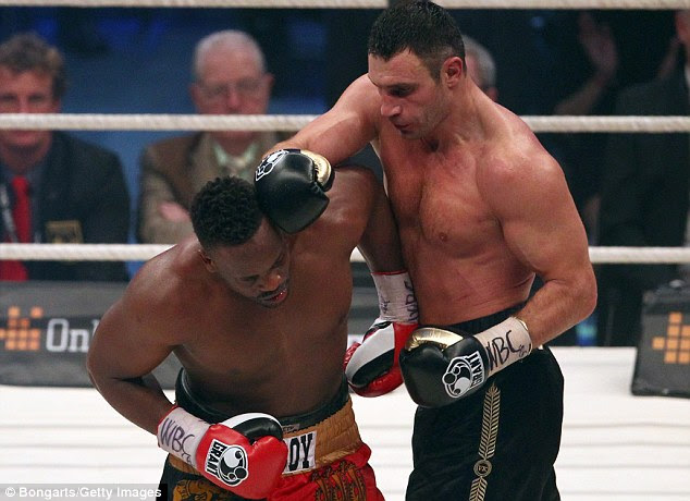 Where it should have stayed: Vitali Klitschko had earlier beaten Dereck Chisora on points