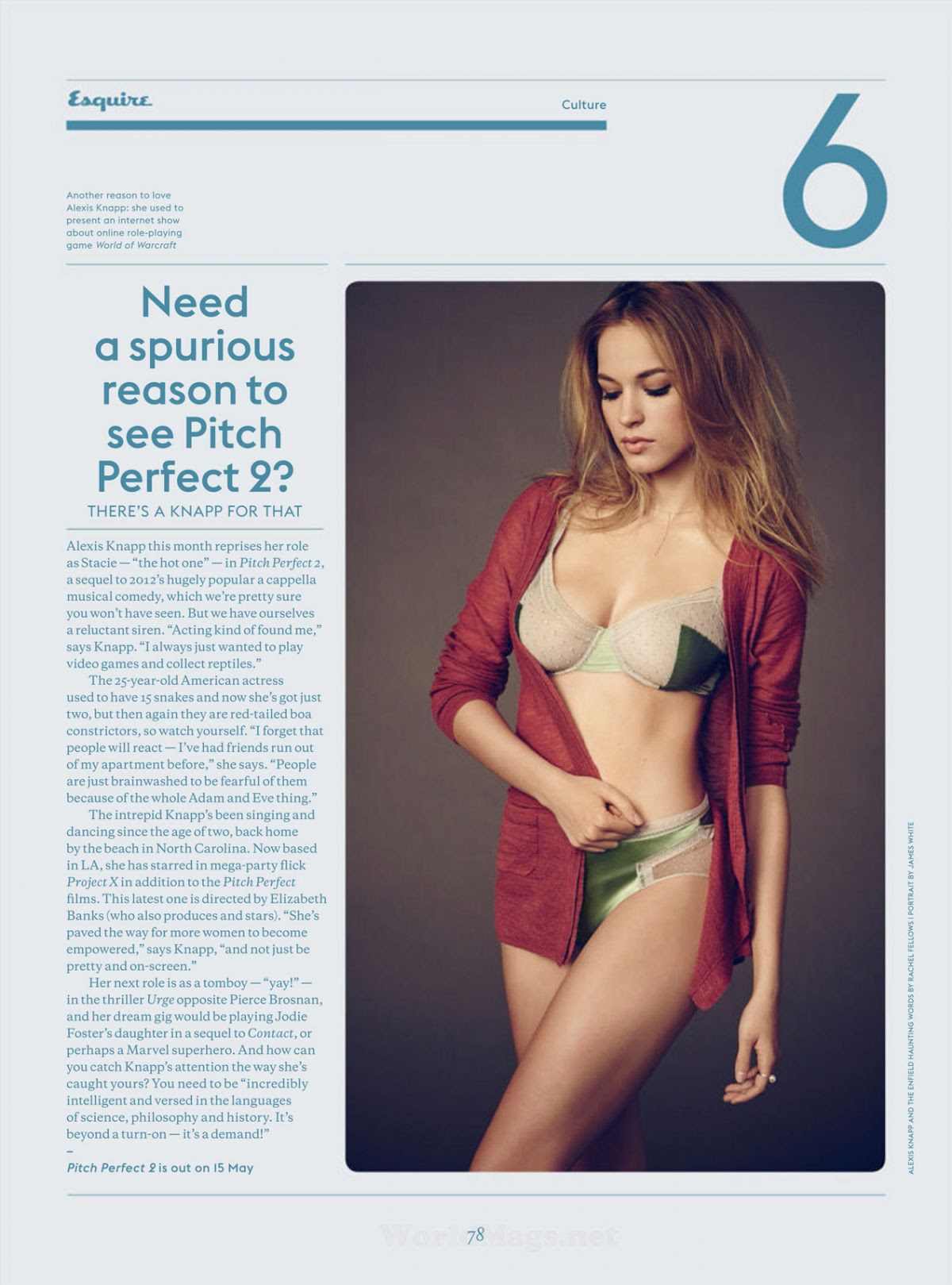 ALEXIS KNAPP in Esquire Magazine, June 2015 Issue