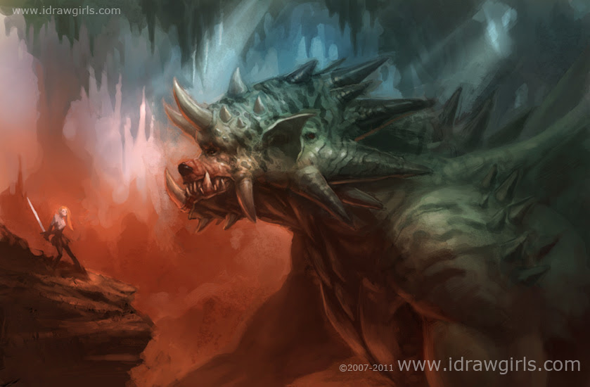 concept art, green dragon