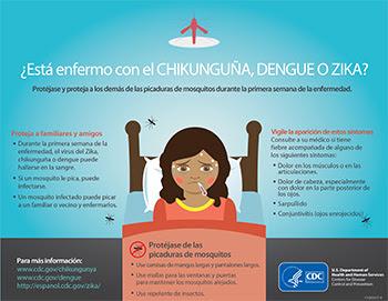 ¿Tiene chikunguña, dengue o zika? Protéjase y proteja a otras personas de las picaduras de mosquito durante la primera semana de la enfermedad.