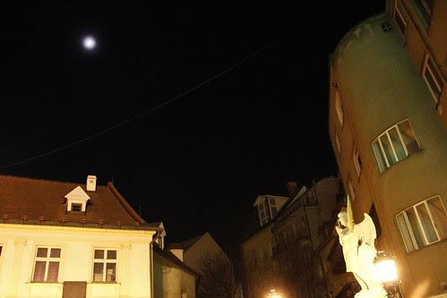 Statue bathing in moonlight