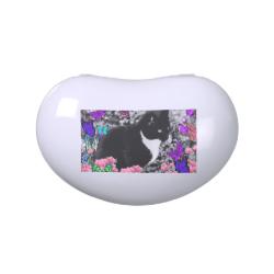 Freckles in Butterflies II - Tuxedo Cat Jelly Belly Tin
