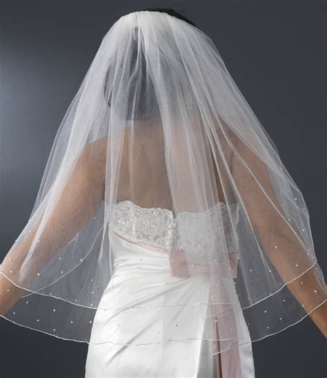 Double Layer Elbow Length Veil with Scattered Rhinestone