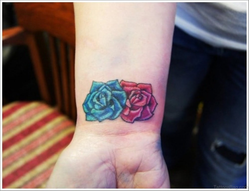52 Wrist Colorful Rose Tattoo Designs