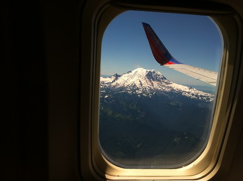 View of Mt. Rainier through the airplane window.