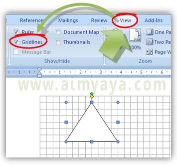Gambar:Cara menampilkan / menyembunyikan gridlines microsoft word
