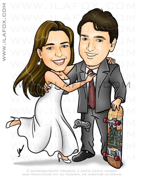 caricatura casal noivos colorida, noivo skatista, corpo inteiro, noivinhos Priscila e Rodrigo, caricatura para casamento, by ila fox