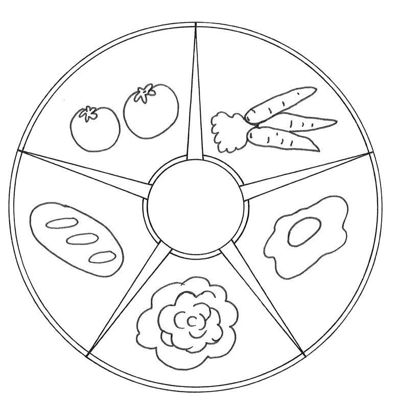 Kostenlose Malvorlage Mandalas: Mandala mit Essen zum Ausmalen