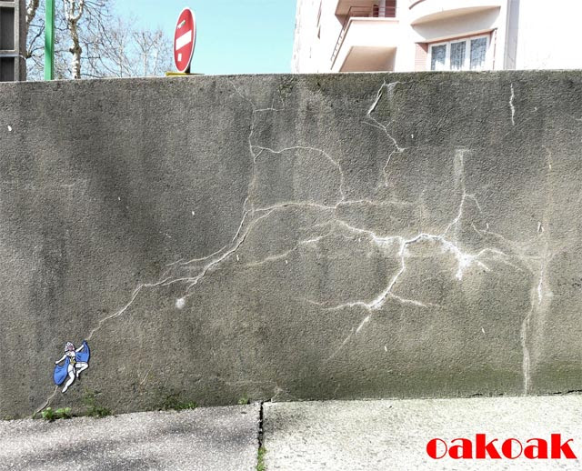Brilliant Urban Interventions by OakOak Turn Crumbling City Infrastructure into a Visual Playground  street art